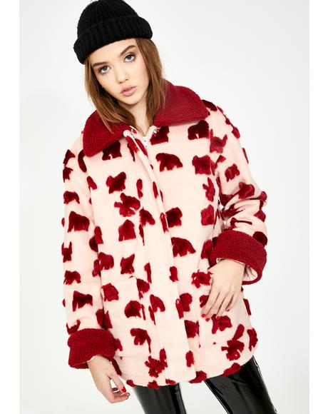 Pink Red Abstract Fuzzy Faux Fur Jacket