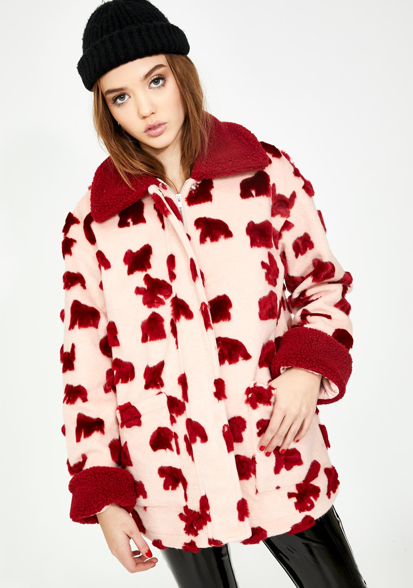 Glamorous Pink Red Abstract Fuzzy Faux Fur Jacket