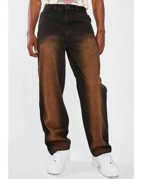 Brown Faded Wash Skate Jeans