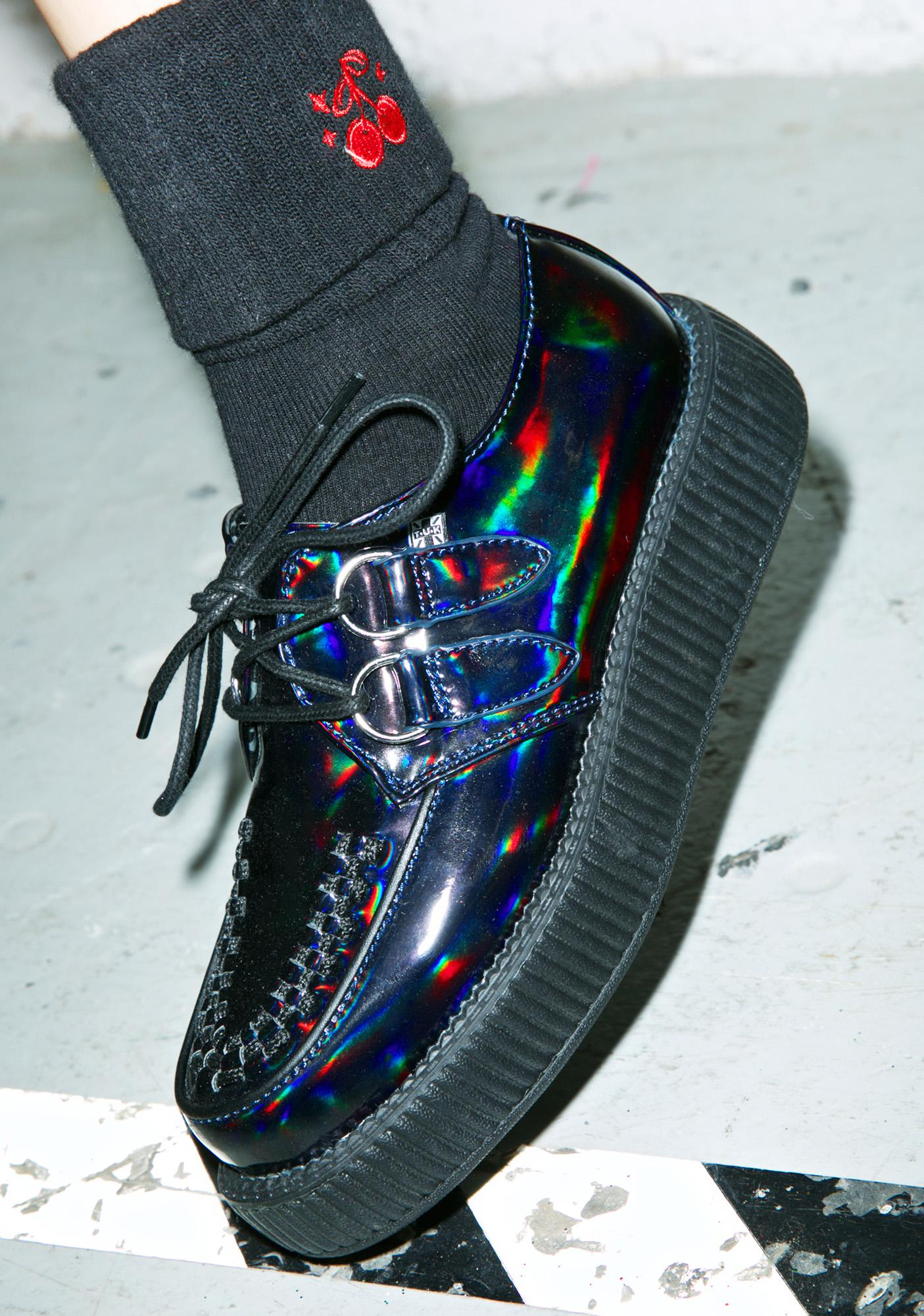 7fc4a59c0a72 T.U.K. Black Hologram Patent Viva Low Creepers
