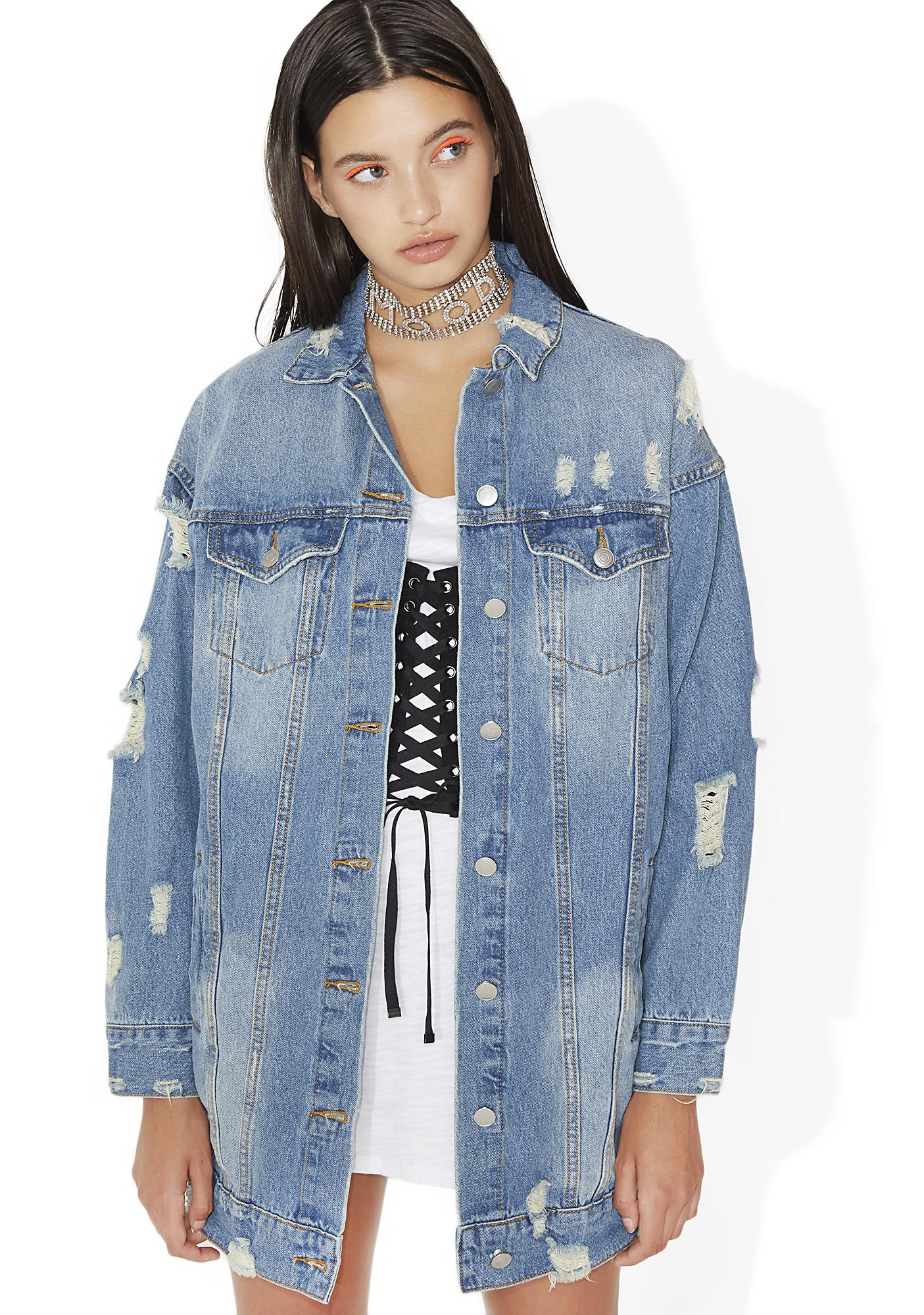 Ice Cold Oversized Distressed Denim Jacket