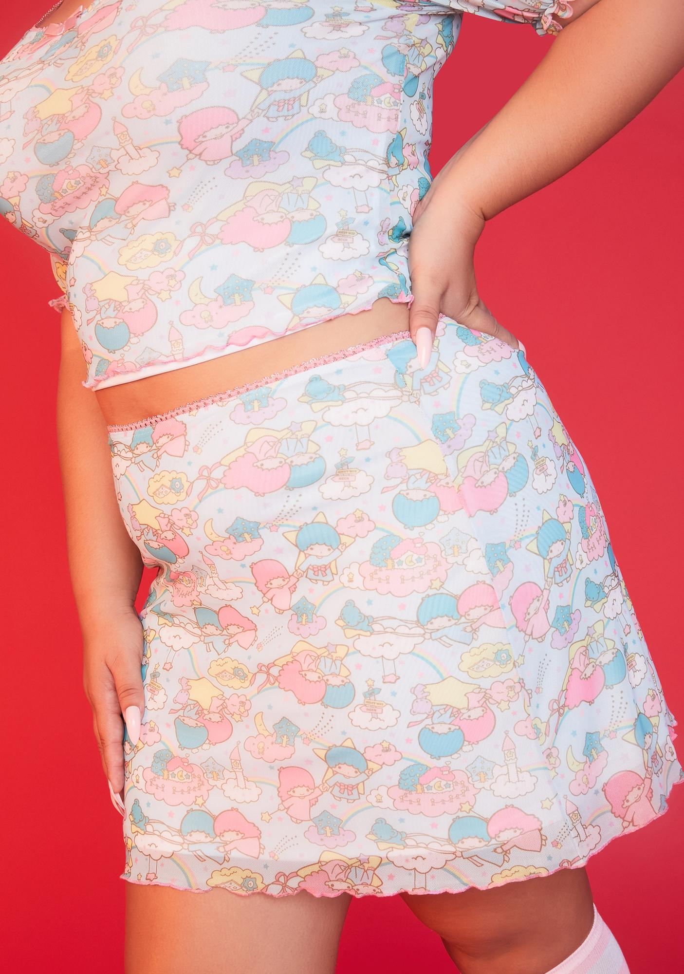 Dolls Kill x Hello Kitty She's Lost In The Clouds Mesh Skirt