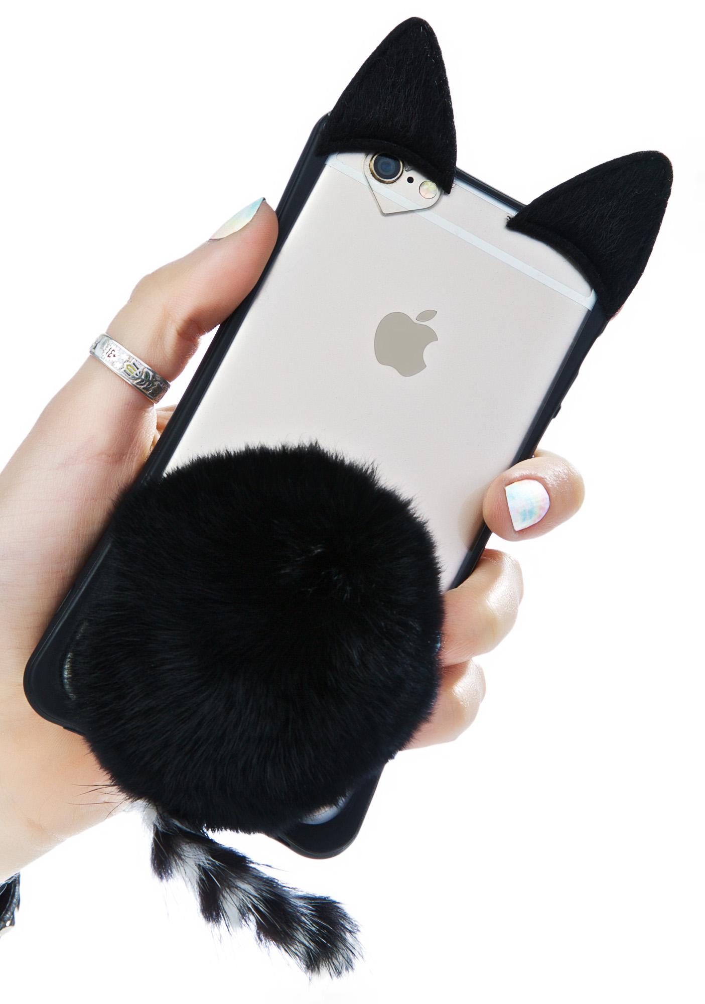 Black Fluffy Cat iPhone Case
