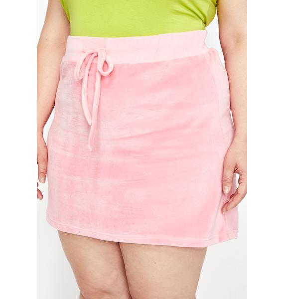 HOROSCOPEZ Lux Pastel Planet Velour Mini Skirt