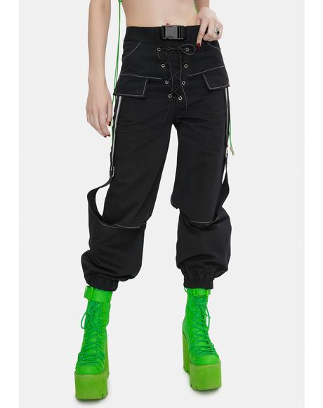 Lara Black Cargo Pants