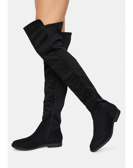 Noir Walk It Out Over The Knee Boots