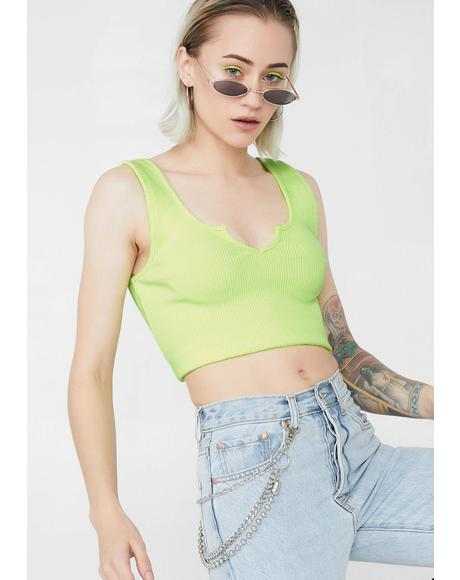 Lime Basic Finesse Crop Top