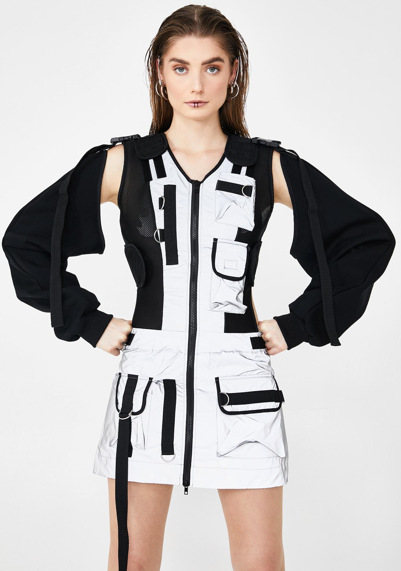 Namilia Reflective Tactical Dress With Detachable Sleeves