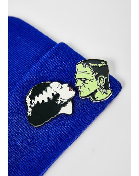 Bride & Frankenstein Pin Set