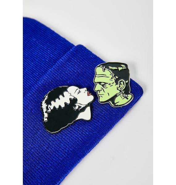 Rock Rebel Bride & Frankenstein Pin Set