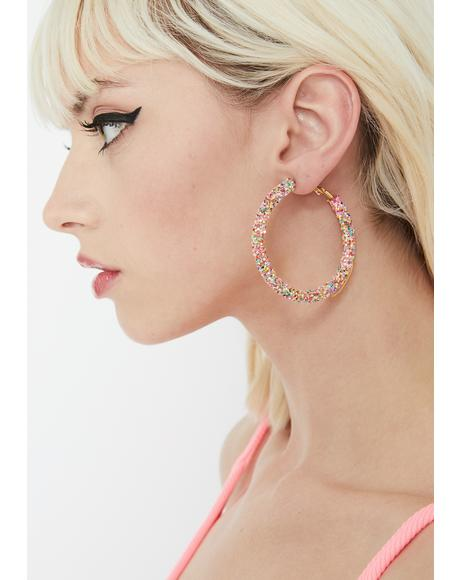 Sassy Sparkle Hoop Earrings