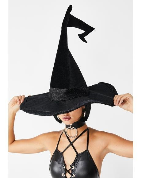 Hallow-Queen Velvet Witch Hat
