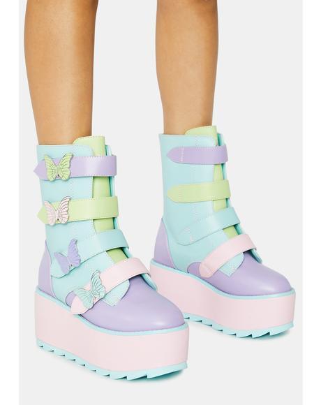 Pastel Karma Butterfly Platform Boots