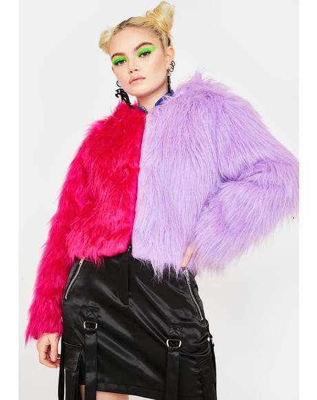 Two Faced Purple Pink Faux Fur Jacket