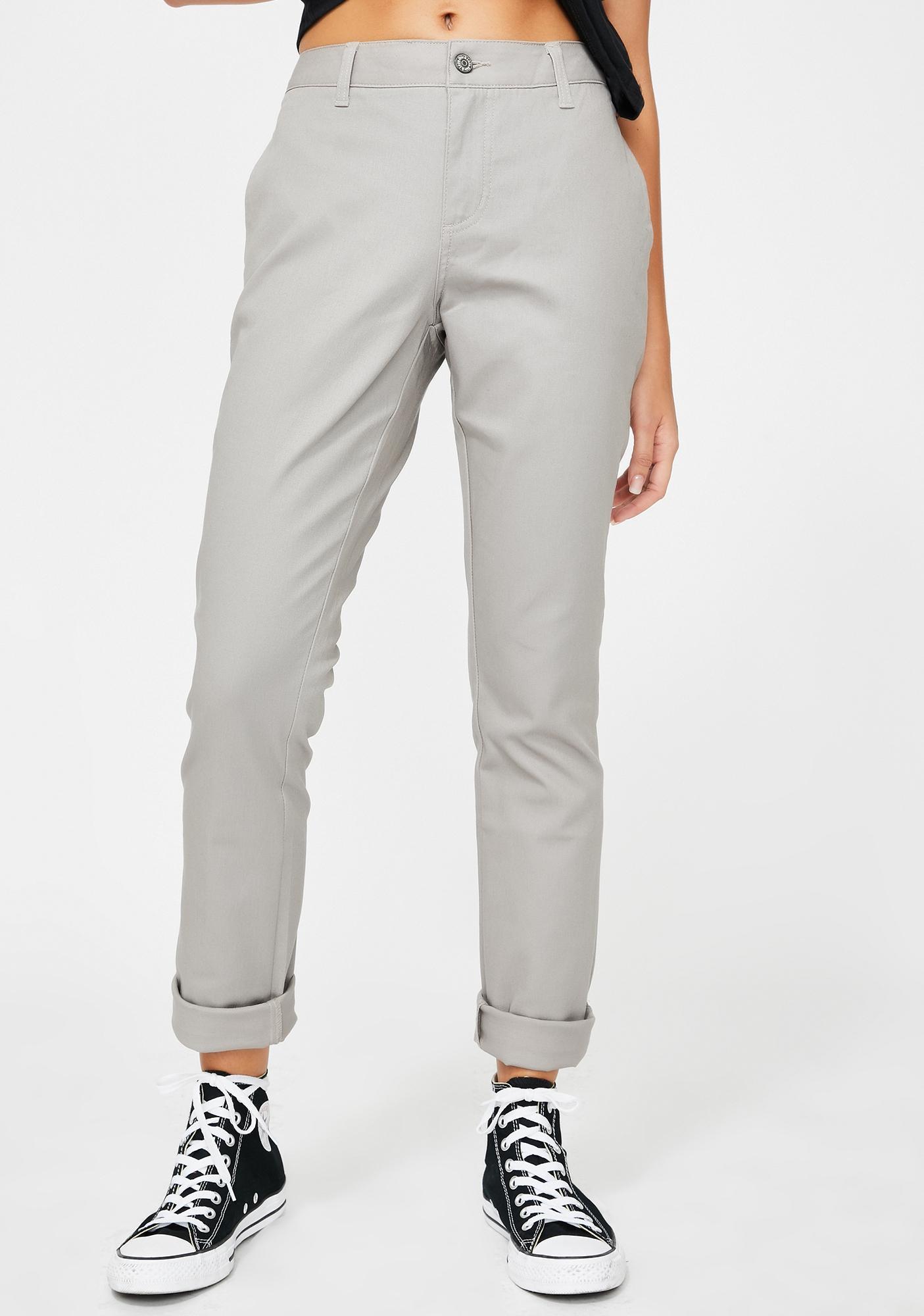 Dickies Girl Silver Original Skinny Fit Twill Worker Pants