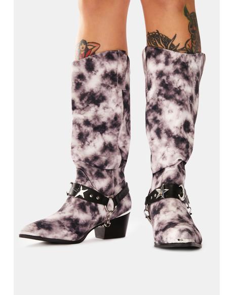 Death Proof Black Tie Dye Cowboy Boots