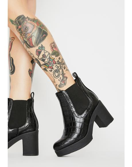 Noir Chasing Prey Snakeskin Ankle Boots