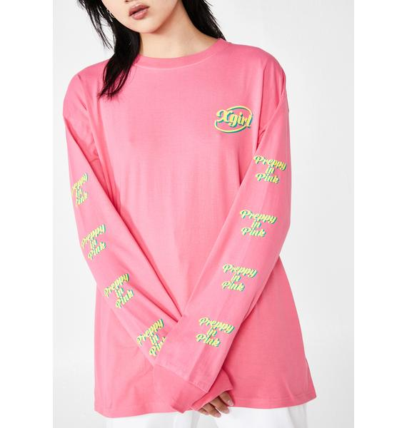 x-Girl Preppy In Pink Graphic Tee