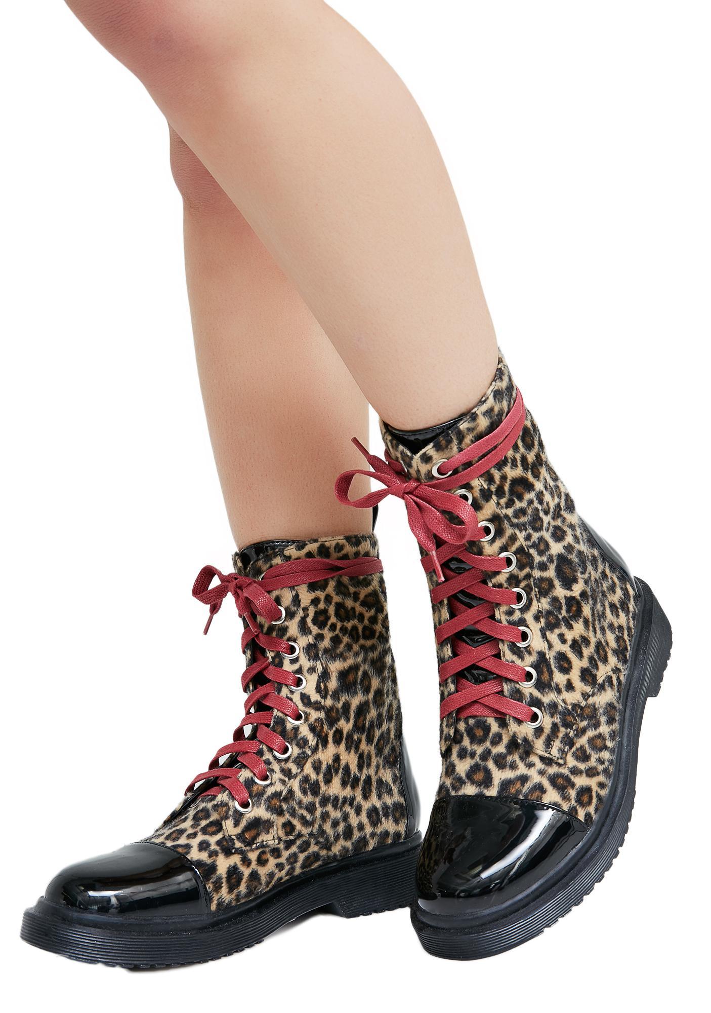 Current Mood Fiercely Ferocious Leopard Combat Boots