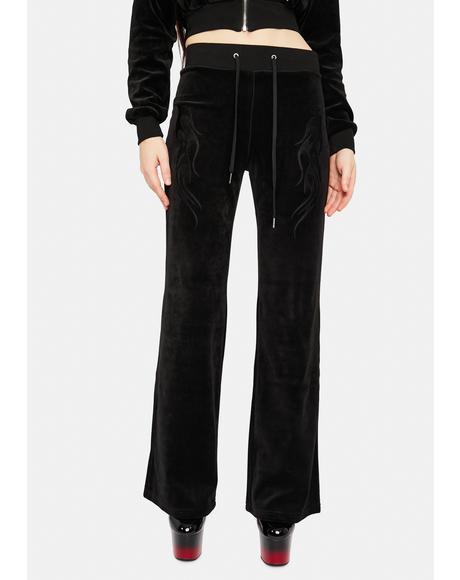 Noir Velvet Flame Track Pants