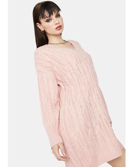 Blush Cuddle Weather Sweater Dress