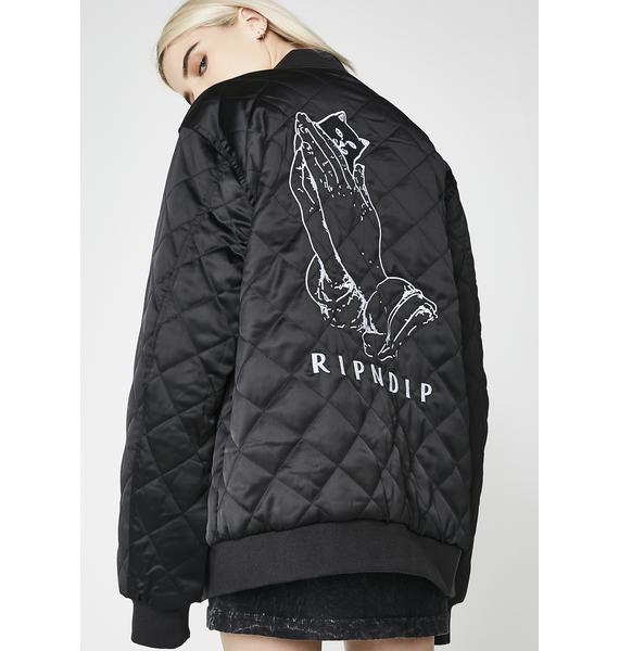 RIPNDIP Praying For Nermal Quilted Reversible Jacket