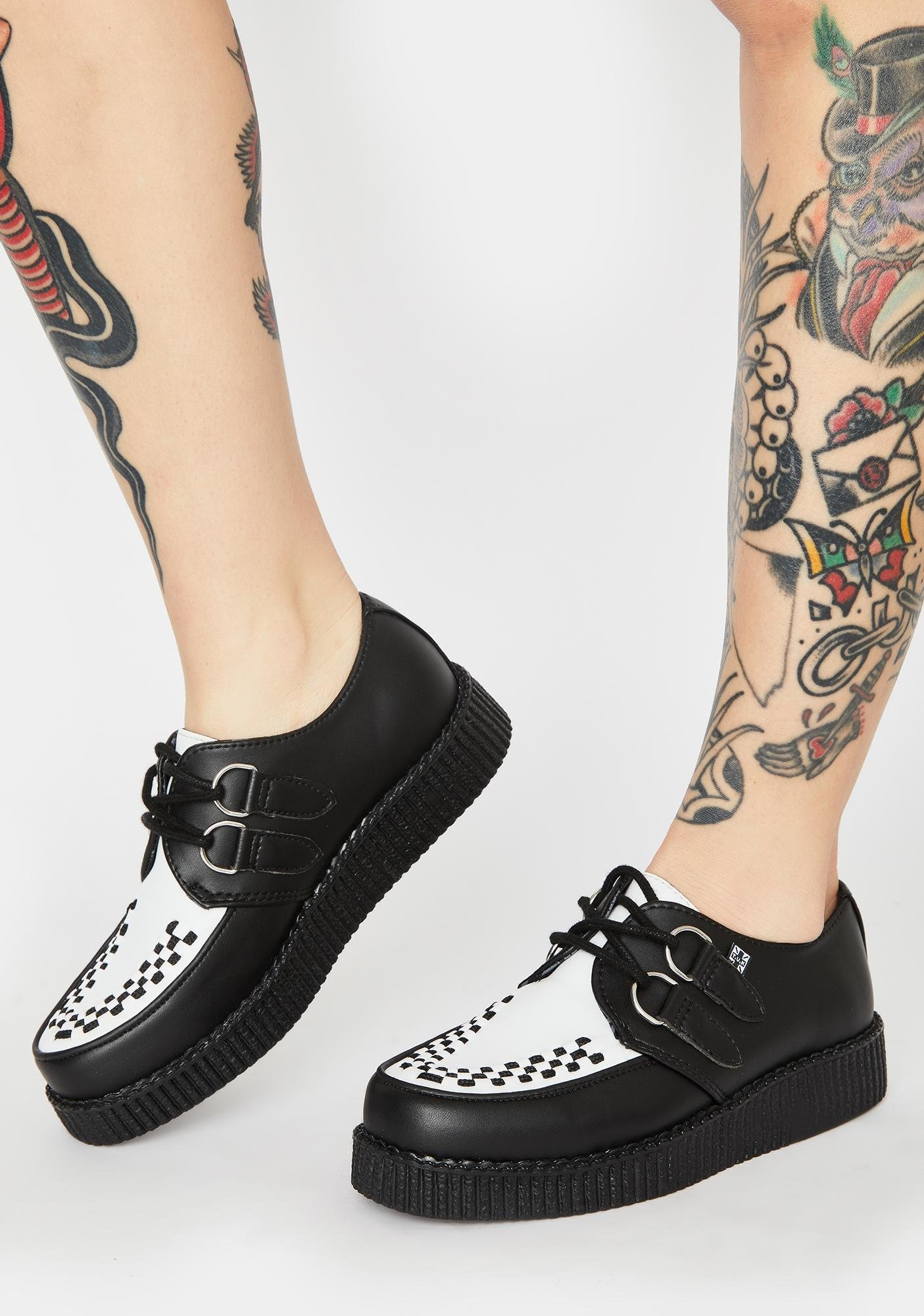 White Viva II Low Lace Up Creepers