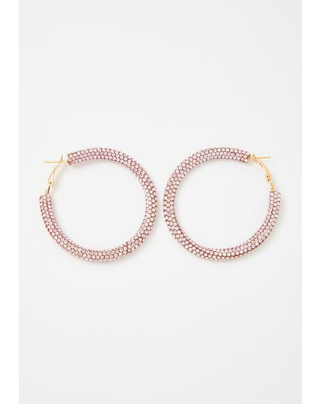 Baby Clout Chaser Rhinestone Hoop Earrings