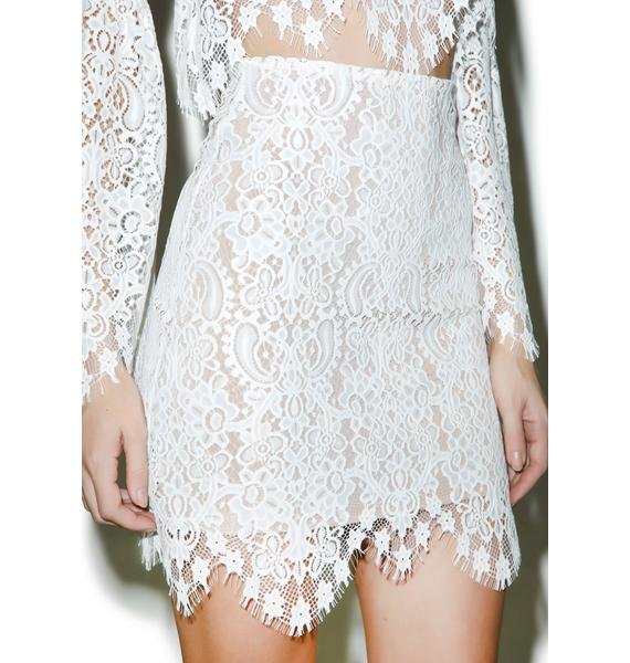 For Love & Lemons Ivory Lyla Mini Skirt