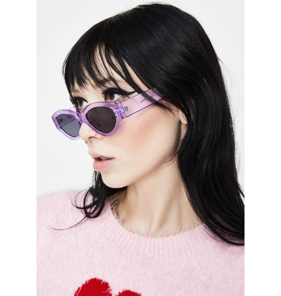 Petals and Peacocks Purple Caution Sunglasses