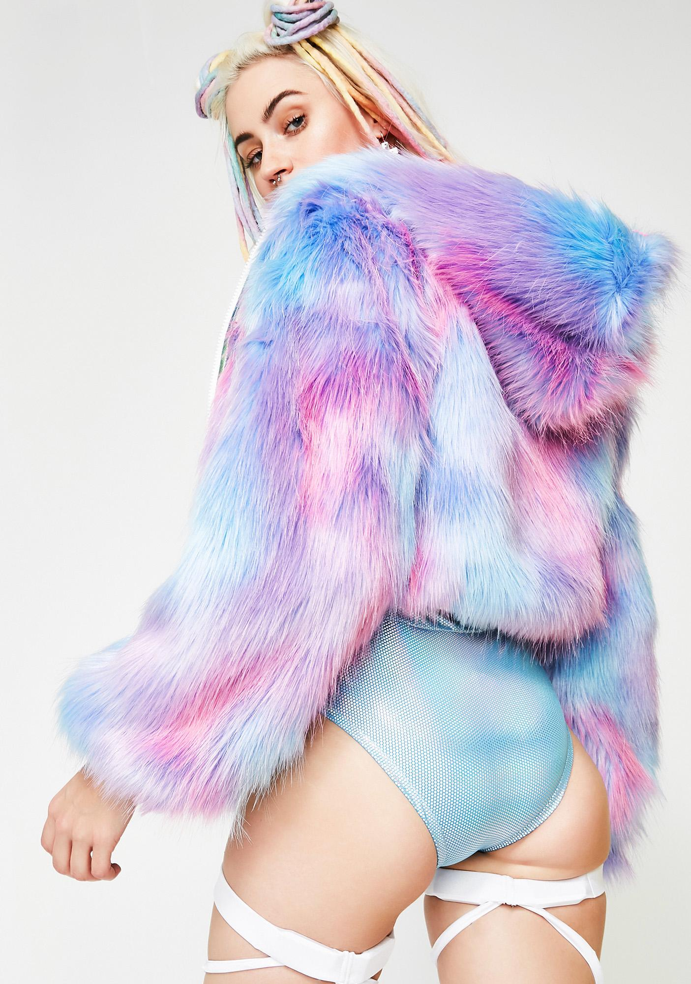J Valentine Cotton Candy Faux-Fur Cropped Jacket