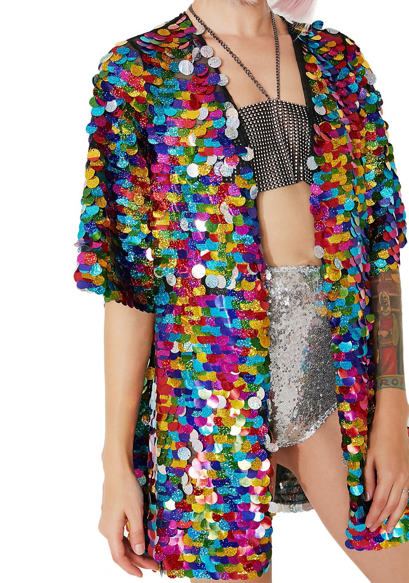 Rolita Rave Couture Rainbow Rager Sequin Kimono