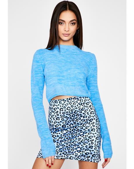 Aqua Your Utopia Cropped Sweater
