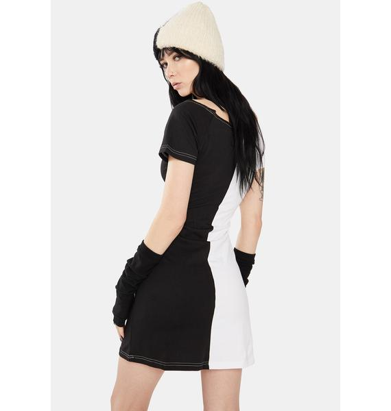 Dr. Faust Zoey Two Face Black And White Mini Dress