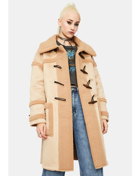 Light Brown Contrast Toggle Coat