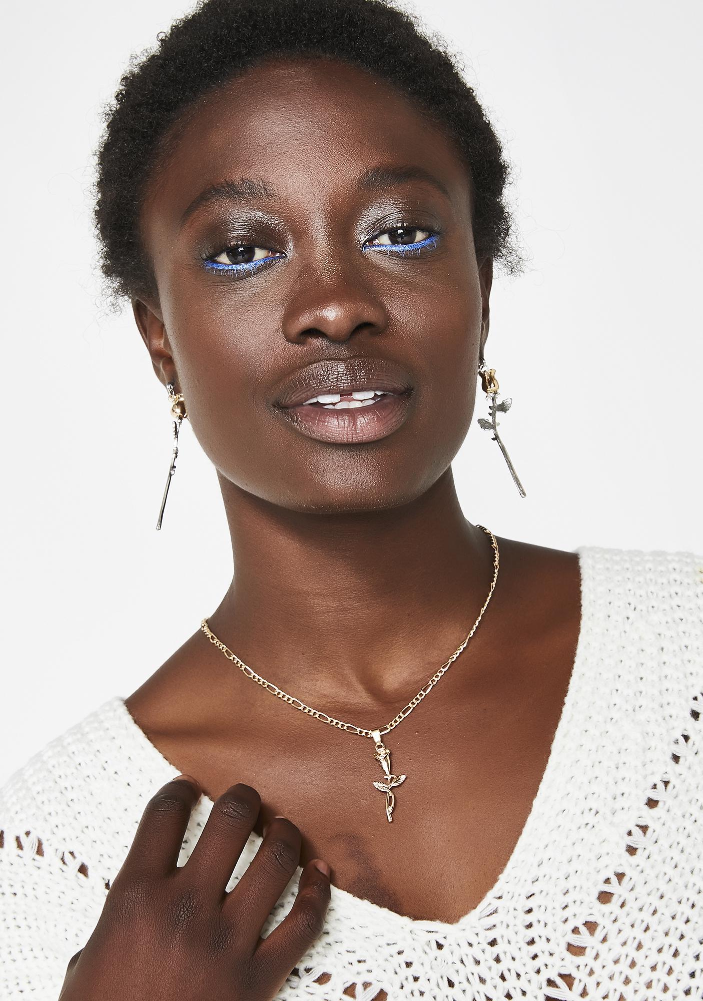 Opulent Rose Charm Necklace