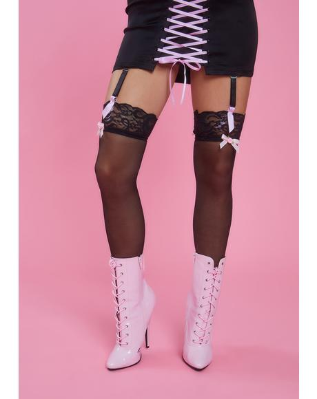 Midnight Tiny Dancer Sheer Thigh High Socks