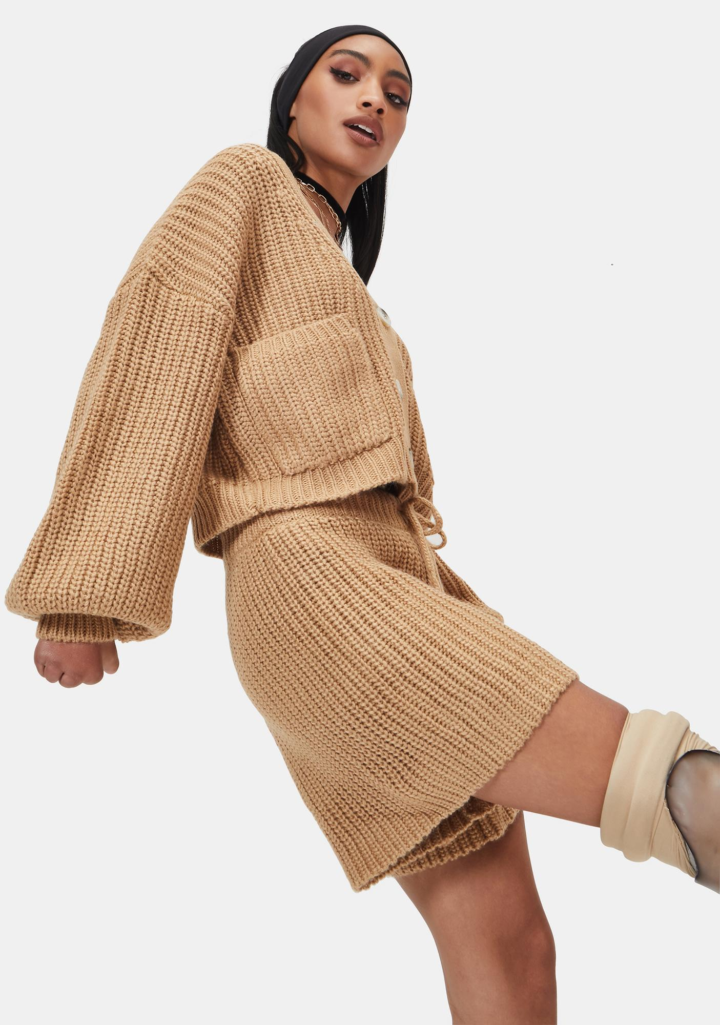 4TH & RECKLESS Camel Henry Chunky Knitted Cardigan