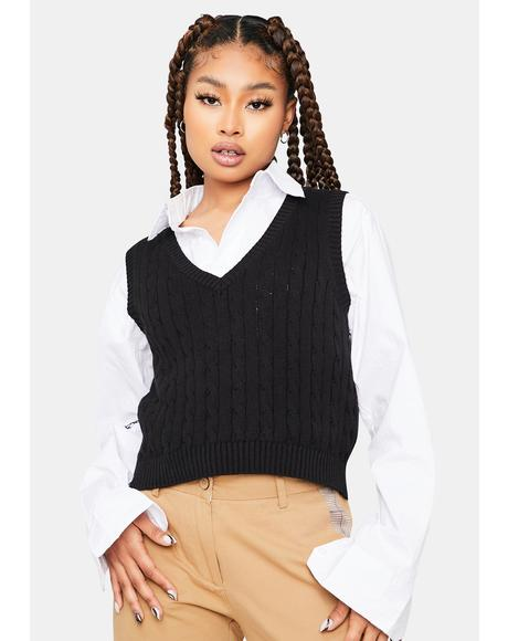 Point Of View Crop Sweater Vest