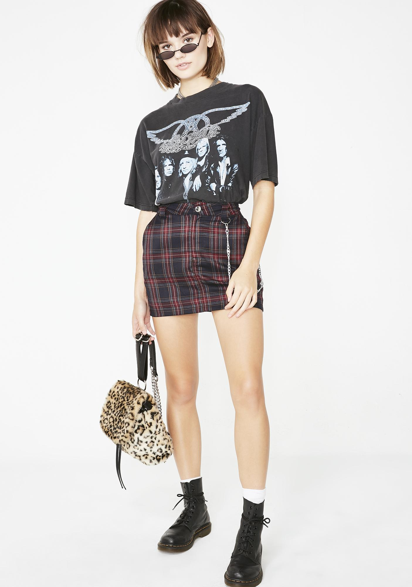 Current Mood Loose Cannon Plaid Skirt