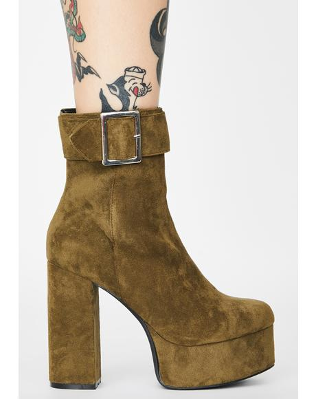 Olive Never Incognito Suede Boots