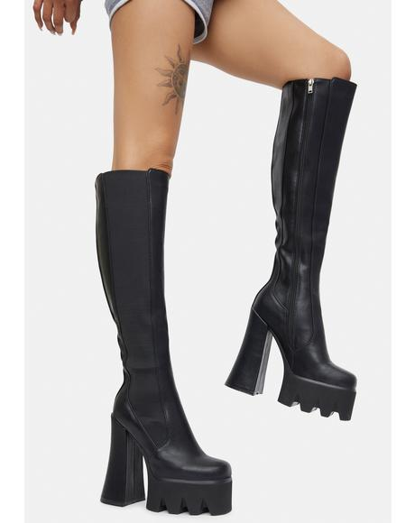 Disco Inferno Knee High Platform Boots