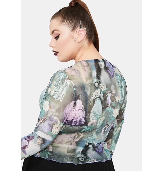 Widow Divine Ink And Feather Portrait Print Long Sleeve Top