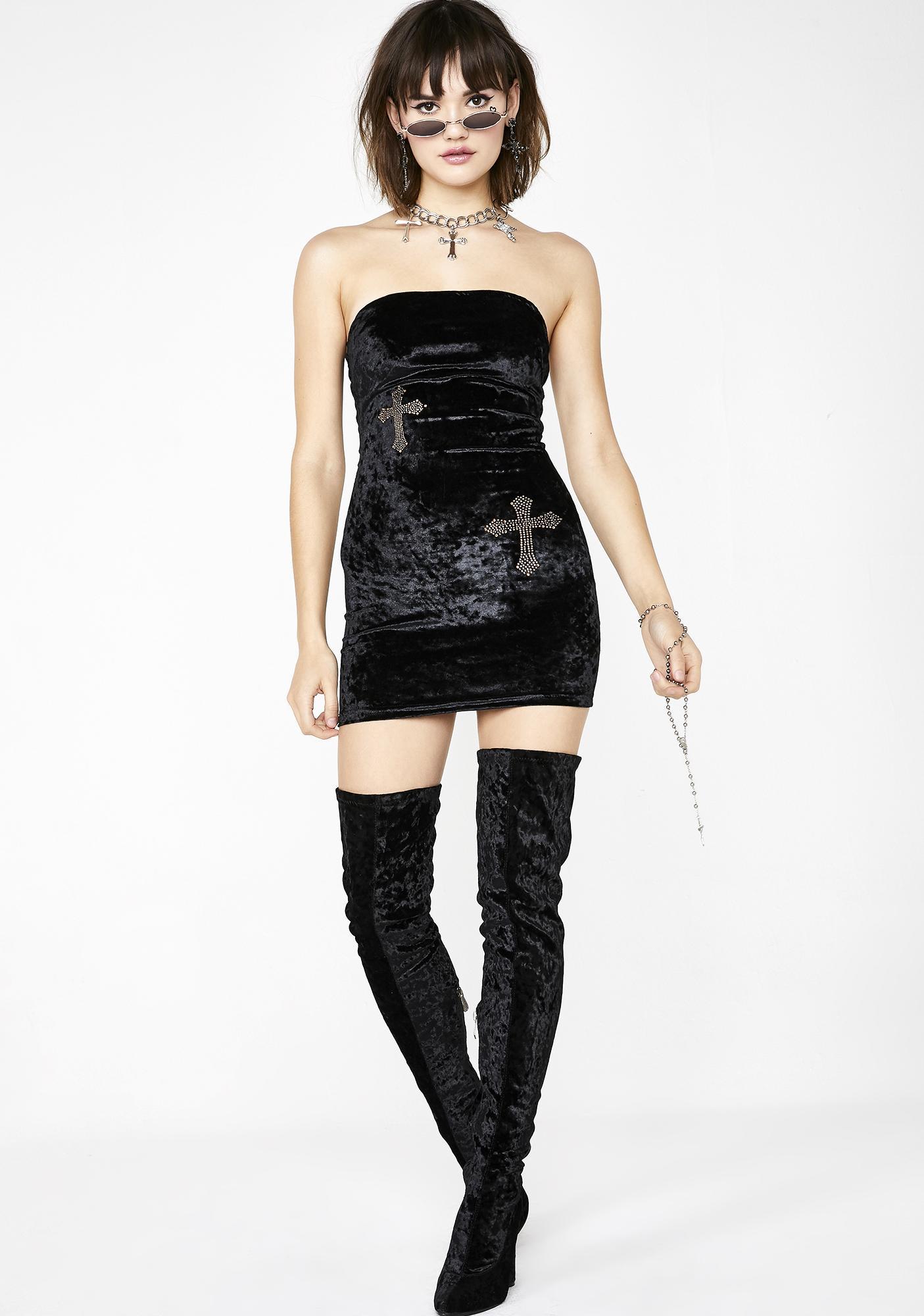 Sugar Thrillz Fallen Angel Velvet Dress
