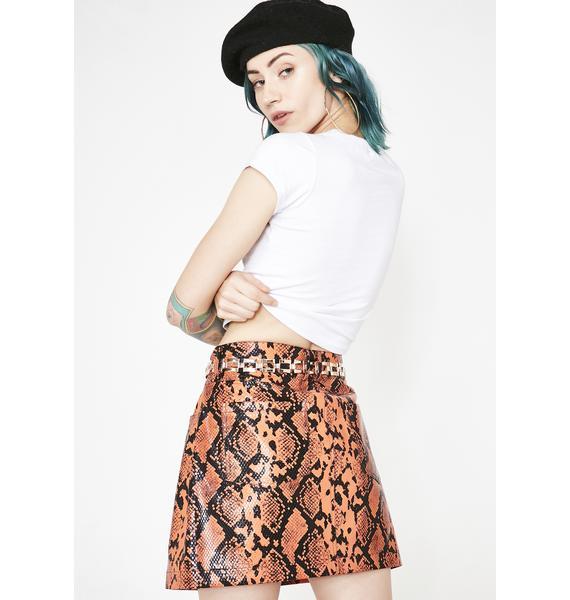 Jaded London Snake Skirt With Chain Belt