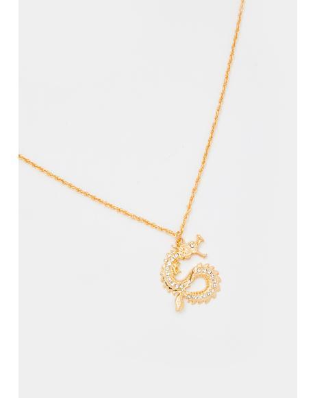 Rising Dragon Rhinestone Necklace