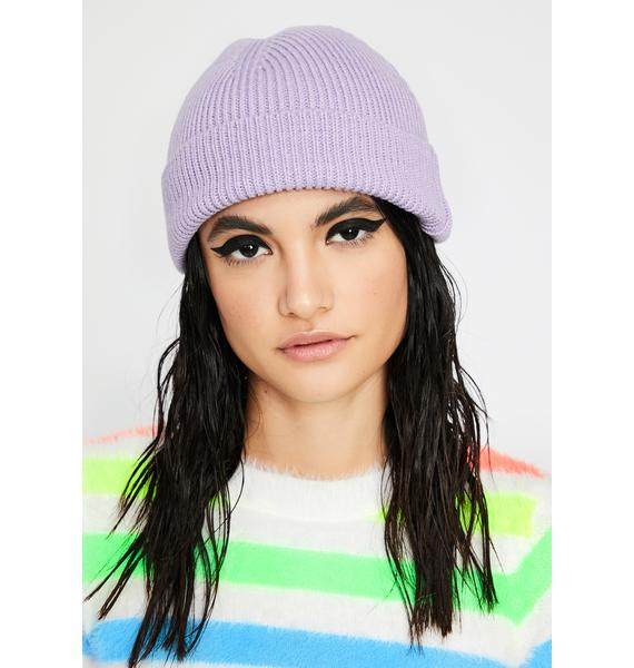 Lilac Color Shock Ribbed Beanie