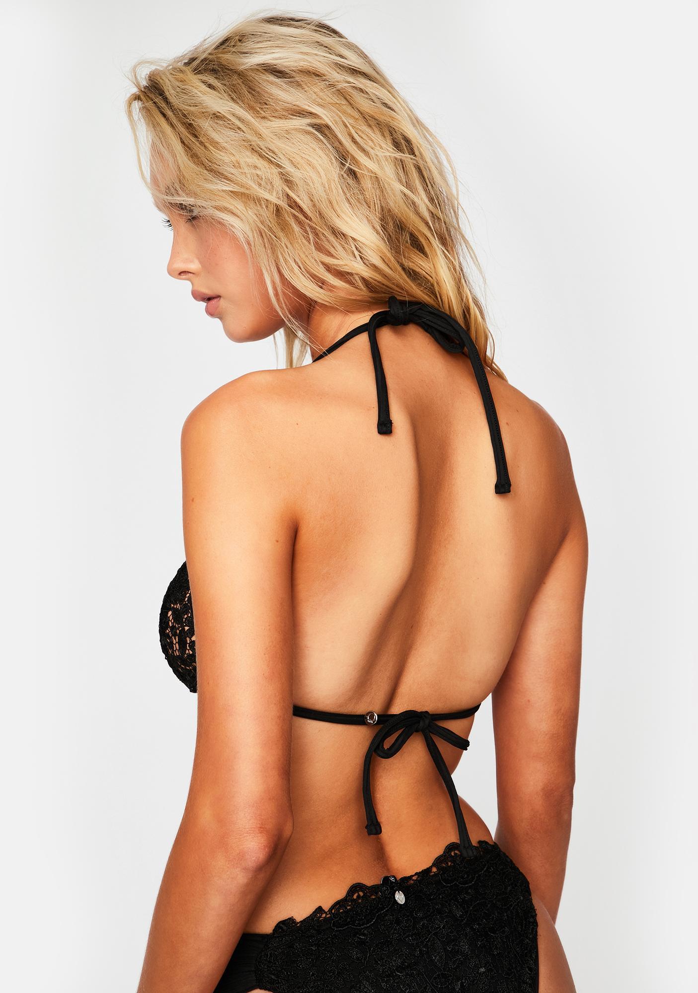 For Love & Lemons Daisy Lace Triangle Bikini Top