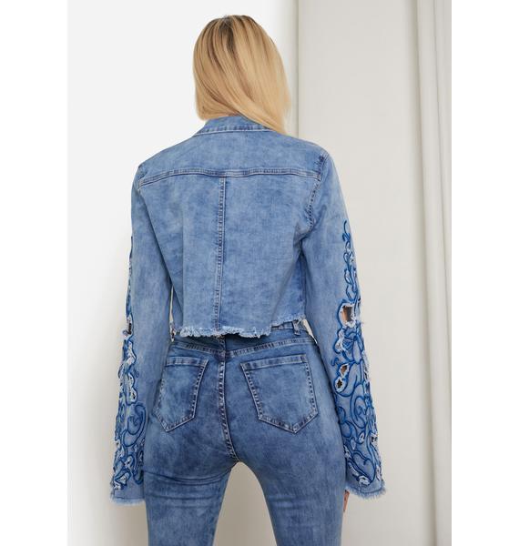 Acid Blue Rooftop Revival Embroidered Denim Jacket