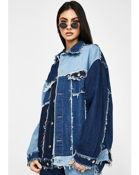 Oversized Patchwork Denim Jacket